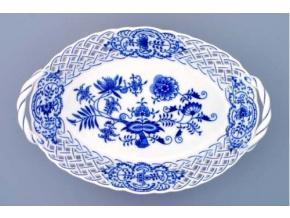 Košík prolamovaný  28 cm, cibulák, Český porcelán