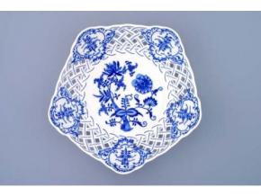 Mísa pětihranná prolamovaná  24 cm, cibulák, Český porcelán