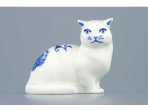Kočka sedící 6,6 cm, cibulák, Český porcelán