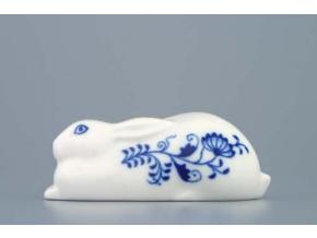 Zajíc ležící 10 cm, cibulák, Český porcelán