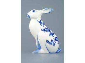 Zajíc velký sedící 17 cm, cibulák, Český porcelán