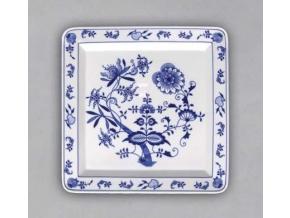 Talíř čtyřhranný 27 cm, cibulák, Český porcelán