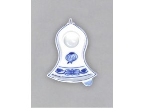 Svícen plochý zvonek 87 x 68 x 22 mm, cibulák, Český porcelán