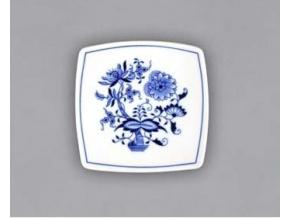 Podšálek hranatý 13 cm, cibulák, Český porcelán