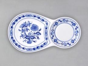 Snídaňový tácek dvojitý 29,8 cm x 16,7 cm, cibulák, Český porcelán