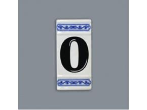 Číslo na dům - rámeček na střed, číslo 0, 110 x 55 mm, cibulák, Český porcelán