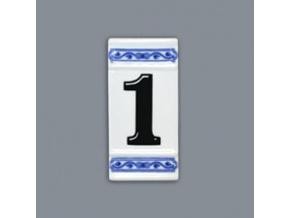 Číslo na dům - rámeček na střed, číslo 1, 110 x 55 mm, cibulák, Český porcelán