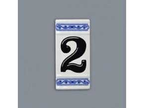 Číslo na dům - rámeček na střed, číslo 2, 110 x 55 mm, cibulák, Český porcelán