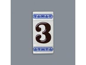 Číslo na dům - rámeček na střed, číslo 3, 110 x 55 mm, cibulák, Český porcelán
