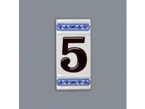 Číslo na dům - rámeček na střed, číslo 5, 110 x 55 mm, cibulák, Český porcelán
