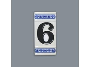 Číslo na dům - rámeček na střed, číslo 6, 110 x 55 mm, cibulák, Český porcelán