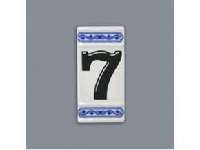 Číslo na dům - rámeček na střed, číslo 7, 110 x 55 mm, cibulák, Český porcelán