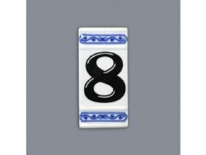 Číslo na dům - rámeček na střed, číslo 8, 110 x 55 mm, cibulák, Český porcelán