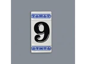 Číslo na dům - rámeček na střed, číslo 9, 110 x 55 mm, cibulák, Český porcelán