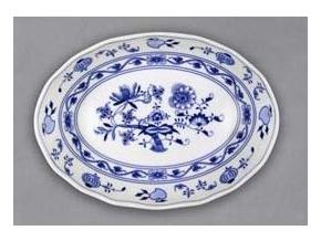 Mísa salátová oválná, 27,8 cm x 20,3 cm, cibulák, Český porcelán