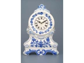 Krbové hodiny s růžemi / se strojkem, 28 cm, cibulák, Český porcelán