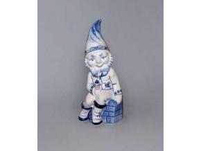 Trpaslík sedící s fajfkou Petrus, 22 cm, cibulák, Český porcelán