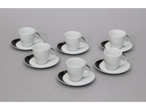 Loos, šálky a podšálky čajové, černobílý dekor, Thun, 6 ks