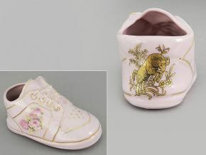 dětská botička - beran, růžový porcelán, Leander