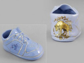 dětská botička - býk, modrý porcelán, Leander