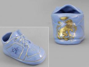 dětská botička - lev, modrý porcelán, Leander