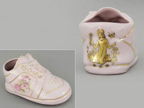 dětská botička - panna, růžový porcelán, Leander