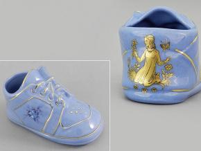 dětská botička - panna, modrý porcelán, Leander