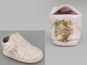 dětská botička - ryby, růžový porcelán, Leander