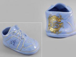 dětská botička - ryby, modrý porcelán, Leander