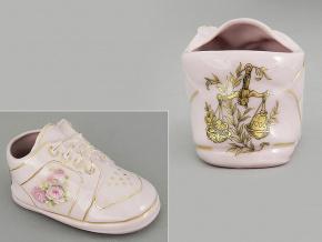dětská botička - váhy, růžový porcelán, Leander