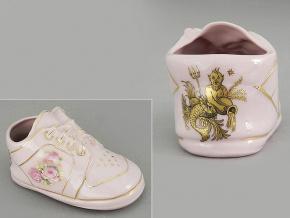 dětská botička - vodnář, růžový porcelán, Leander