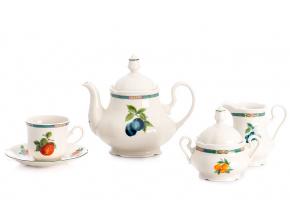 Mary-Anne, čajová souprava, 15-dílná, slonová kost, ovoce