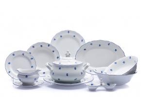Jídelní souprava Ofélie, český porcelán, Stará Role, modré házenky