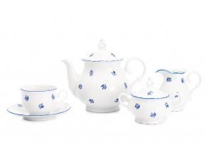 Čajová souprava Ofélie, český porcelán, Stará Role, modré házenky