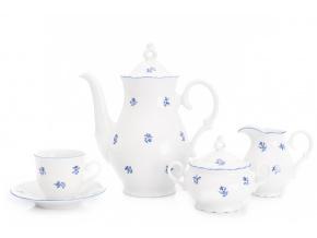 Kávová souprava Ofélie, český porcelán, Stará Role, modré házenky