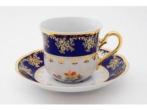 Mary-Anne, čajový šálek s podšálkem, kobalt + barevné kvítí