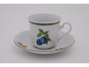 Mary-Anne, kávový šálek s podšálkem, ovoce, bílý