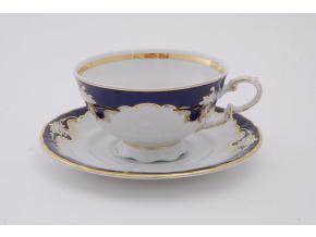 Sonáta, čajový šálek s podšálkem, kobalt + zlaté zdobení