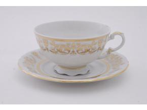 Sonáta, čajový šálek s podšálkem, zlaté ornamenty, 200 ml, Leander
