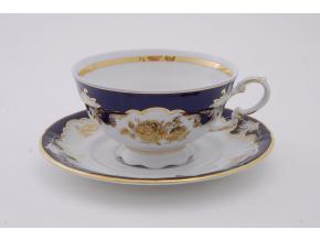 Sonáta, čajový šálek s podšálkem, kobalt, zlatá růže I.