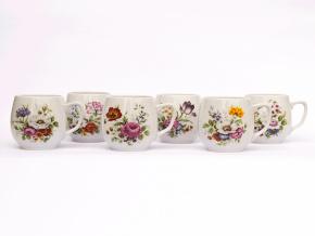 Sada hrnků, 0,3 l, Český porcelán Dubí, Baňák, pestré květy, 6 ks