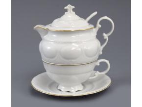 Salek a konvicka na caj bily zlata linka Leander porcelanovy svet