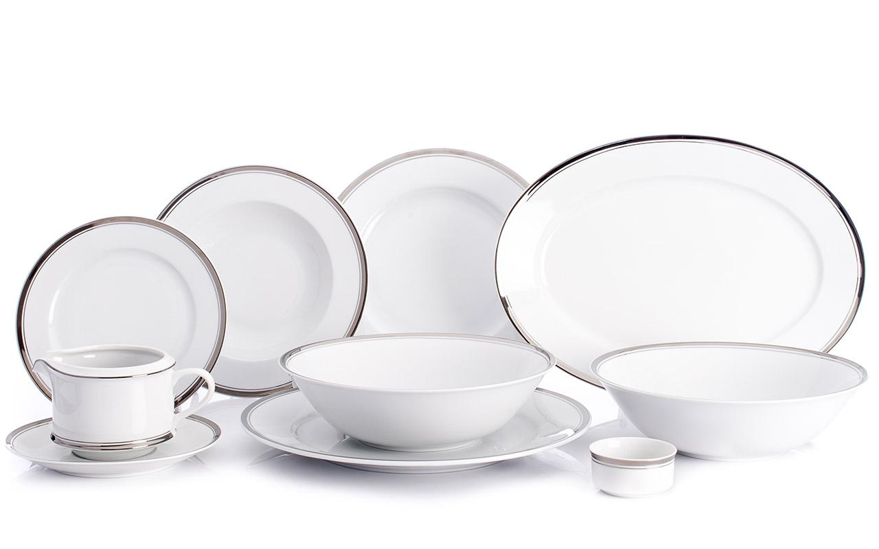 Jídelní souprava, karlovarský porcelán Leander Loučky, Sabina, platinový proužek, 24 dílná