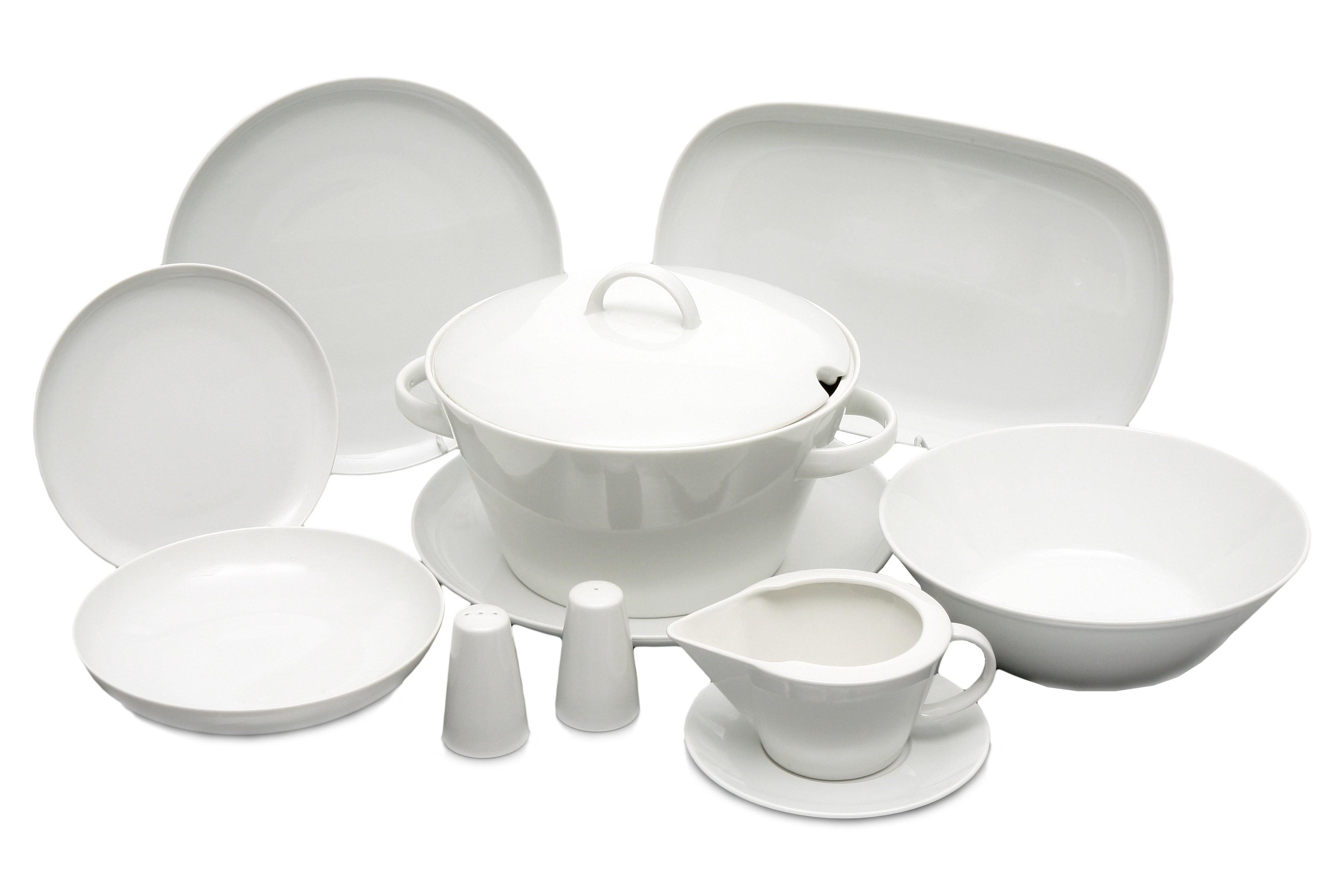 Jídelní souprava, karlovarský porcelán, Thun, Tom, bílá, 25 dílná