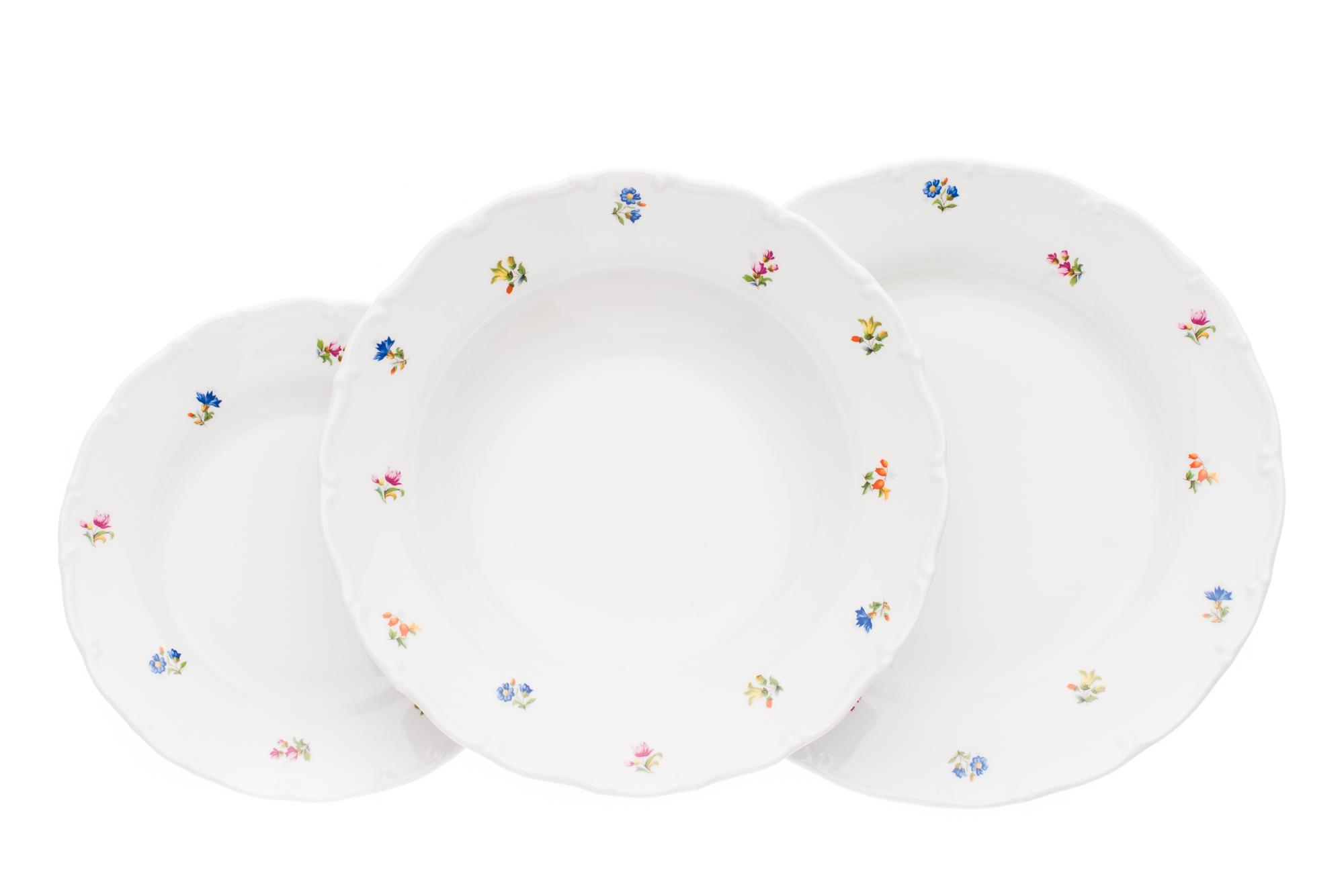Sada talířů, karlovarský porcelán, Stará Role, Ofélie, házenka, 18 dílná