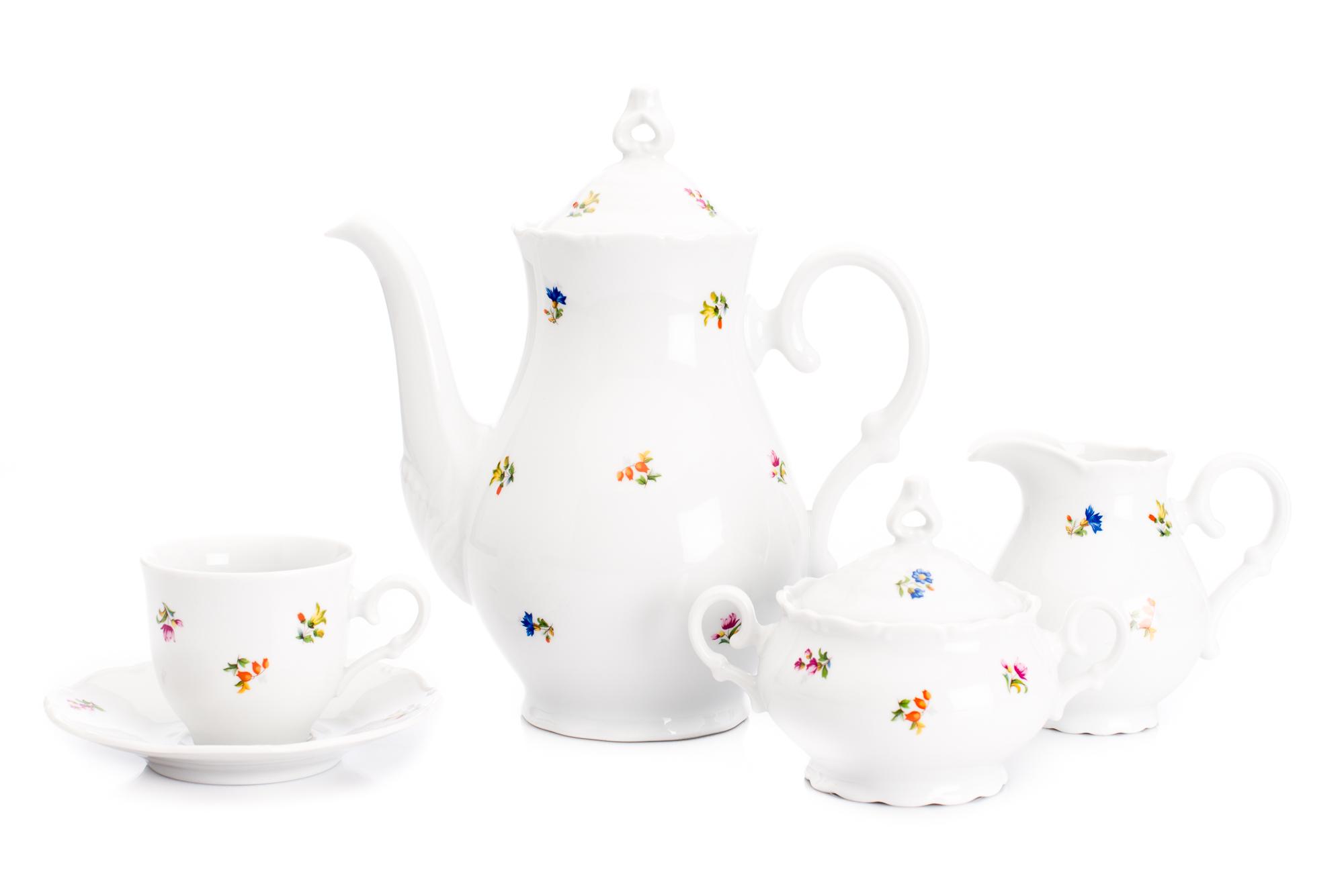 Kávová souprava, karlovarský porcelán, Stará Role, Ofélie, házenka, 15 dílná