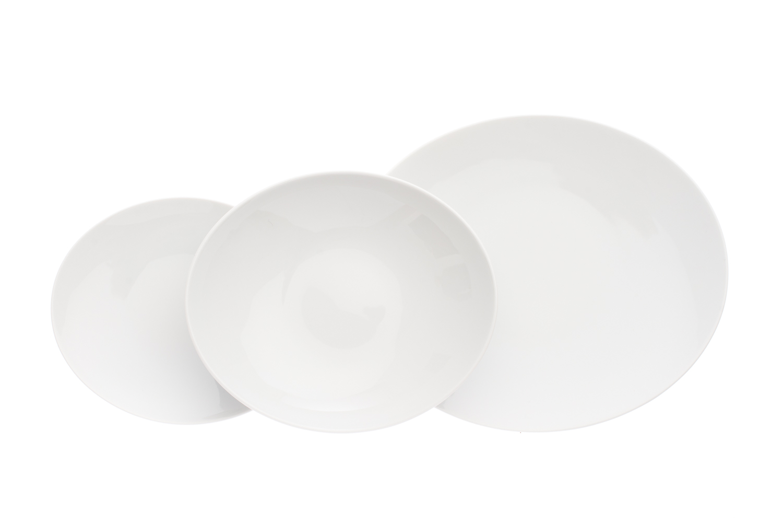 Sada talířů, moderní český porcelán, Thun, Loos, bílý, 18 dílná