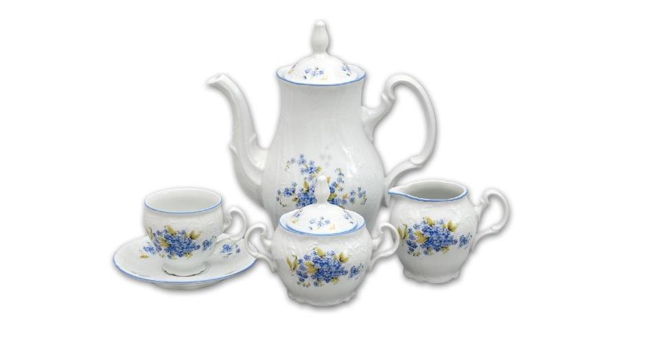 Kávová souprava porcelánová, Bernadotte, pomněnky karlovarský porcelán, Thun, 15 dílná