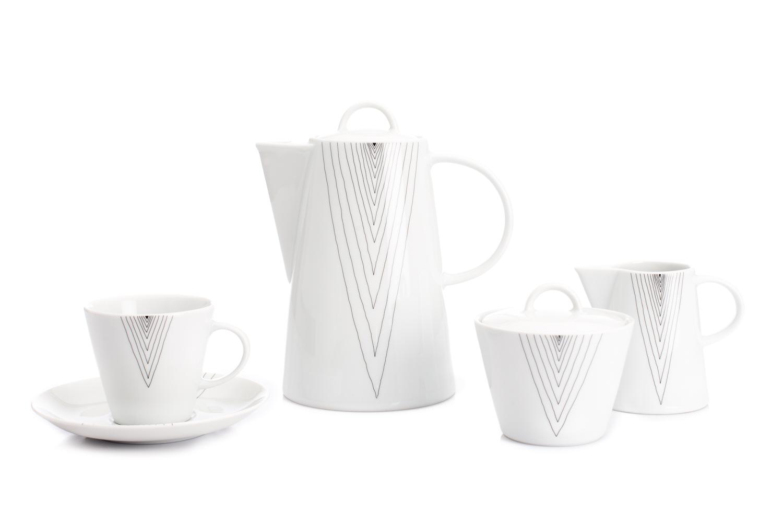 Karlovarský porcelán, kávová souprava, Thun, Tom šedé špičky, 15 dílná