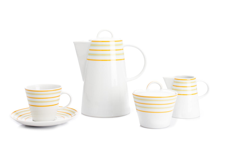 Kávová souprava, karlovarský porcelán Thun, Tom, žluté linky, 15 dílná